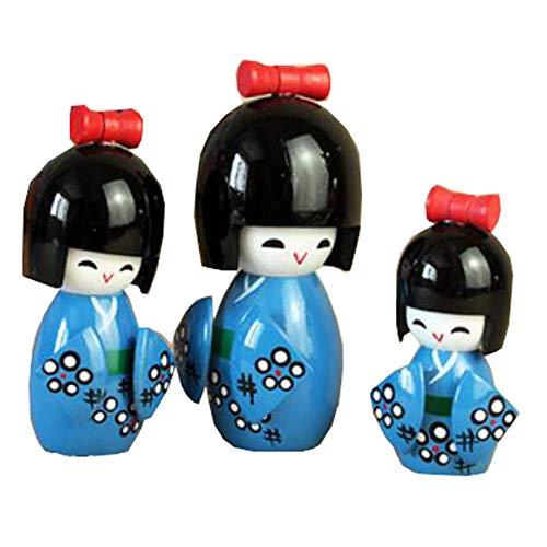 Black Temptation 3PCS Japanese Geisha Doll Sushi Restaurant Decoration Ornaments Craft Gift Japanese Puppet Doll Kimono Doll Playsets for Girl(Kokeshi#03)