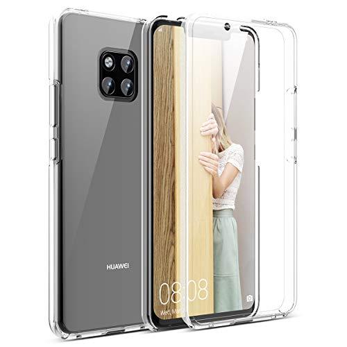 Winhoo per Cover Huawei Mate 20 PRO Custodia 360 Gradi Full Body Rigida Protettiva Protezione per Schermo Morbida Silicone TPU Ai Graffi Antiurto Protezione Posteriore - Trasparente