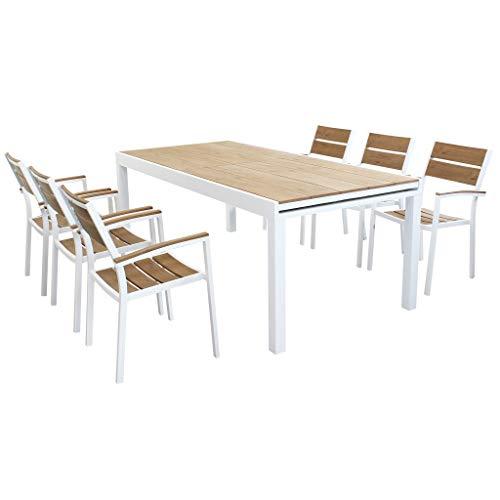 MilaniHome Set Tavolo Giardino Allungabile Rettangolare 200/300 X 100 con 6 Poltrone in Alluminio Bianco E Polywood da Esterno