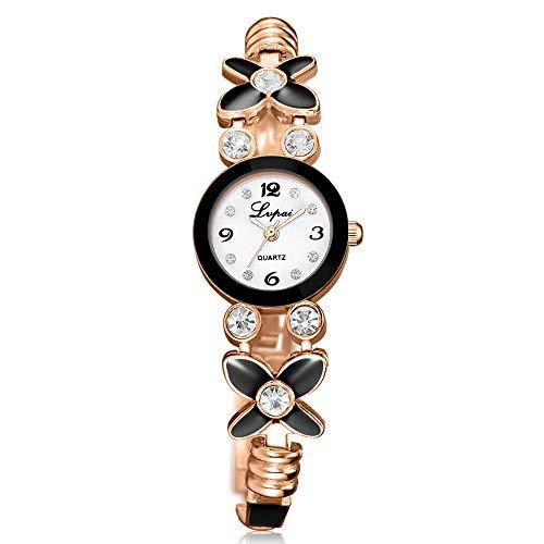 Powzz - Reloj de moda para mujer, diseño de flor con reloj de cuarzo en aleación de estrás dorado y negro