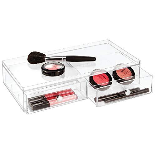 iDesign Drawers Brillenbox | stapelbare Aufbewahrungsbox für Brillen, Lesebrillen & Sonnenbrillen | breite Schubladenbox mit 2 Schubladen | Kunststoff transparent