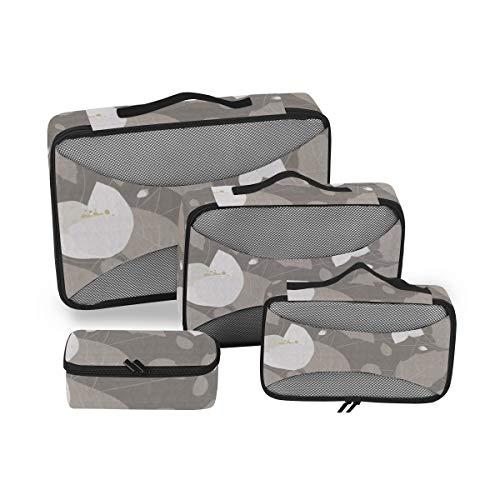Jasmine Flowers 4pcs Large Travel Toiletry Bag for Women Big Wash Bags Hair Dryer Case Multi-Use Toiletries Kit Cosmetics Makeup Bathroom Organizer Suitcase Luggage