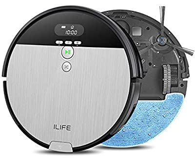 ILIFE V8s, 2-in-1 Robotic Vacuum Cleaner and Mopping, 750ml Big Dustbin, LCD Display, Schedule Function, Strong Suction Power, Ideal for Pet Hair, Hard Floor to Medium Pile Carpet.