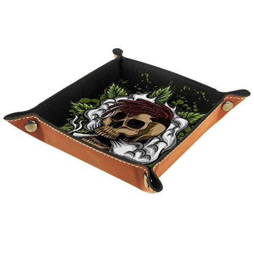 Eslifey Organizer mit Totenkopf-Motiv, Rauchglas, Cannabis, Aufbewahrungsbox für Nachttisch, Schreibtisch-Tablett, Wechselschlüssel, Münzfach, 20,5 x 20,5 cm