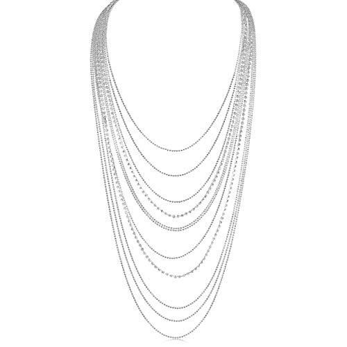 Humble Chic Waterfall Jewel Long Necklace Multi-Strand Statement CZ Rhinestone Chains, Extra Long Silver Tone