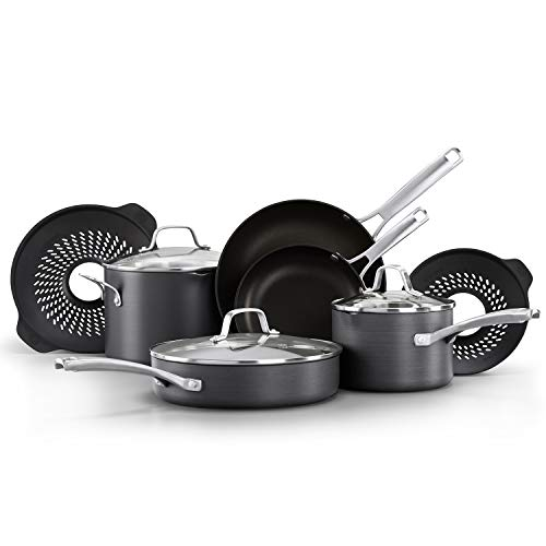Calphalon Classic Pots and Pans Set 10 Piece Cookware Set with No BoilOver Inserts Nonstick