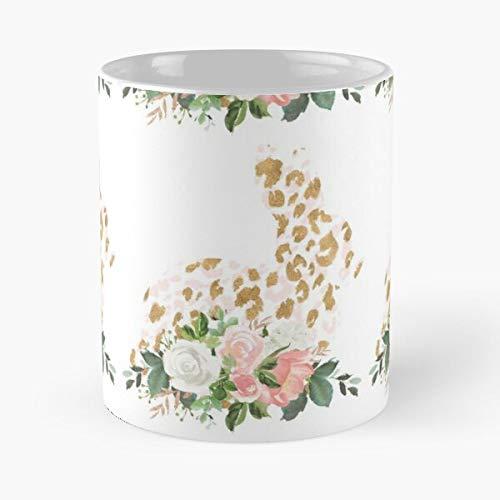Taza de café de cerámica de 2020 con diseño de leopardo, color rosa