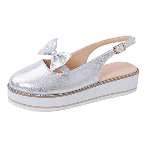 JOYBI Women Closed Toe Platform Sandals Ankle Strap Bow Comfortable Buckle Slingback Non Slip Loafer Shoes Sliver