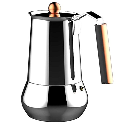 Infinity Chef Copper Coffee Maker, Silver, 6 Cups
