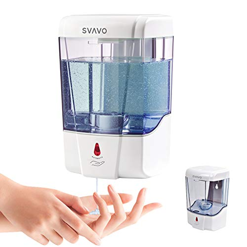 SVAVO Automatic Soap Dispenser - Infrared Sensor Liquid Dish Soap Pump for Kitchen, Bathroom, Hotel 21oz/600ml Ultra-Large Capacity, Wall Mounted Saving Space, White