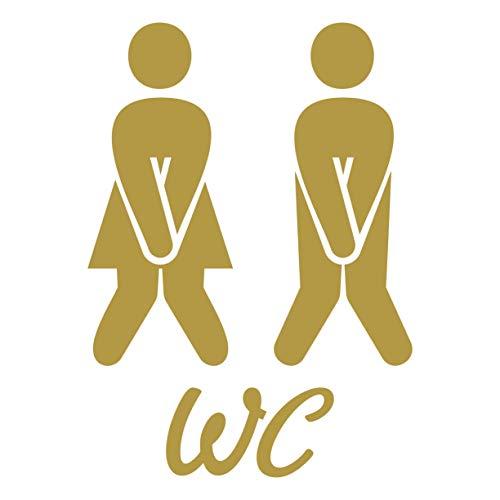 Folistick WC Aufkleber Türaufkleber Badezimmer Toiletten Wandtattoo (Gold)