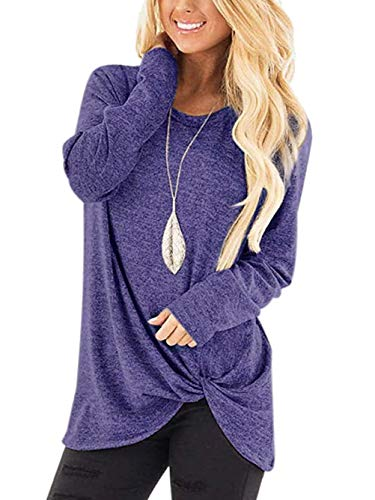 Yidarton Women's Comfy Casual Long Sleeve Side Twist Knotted Tops Blouse Tunic T Shirts(bl,s) Blue
