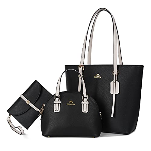 Handbags for Women, Fashion Tote Bag with Adjustable Top Handles, Waterproof PU Leather Work Purse Bag Satchel Wallet Hobo for Daily Travel, 3pcs Set Black