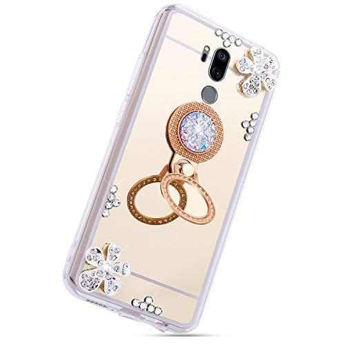 Herbests Kompatibel mit LG G7 ThinQ Glänzend Diamant Kristall Strass Glitzer Spiegel TPU Handyhülle Handytasche Silikon Schutzhülle TPU Bumper Case mit Handy Fingerhalterung,Gold