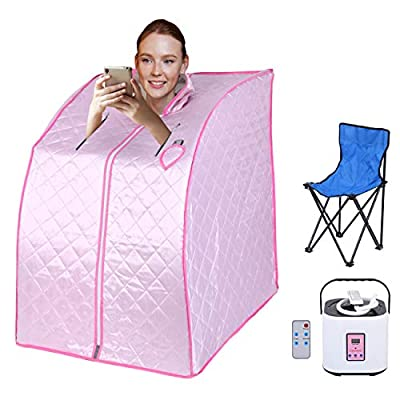 Ridgeyard Portable Steam Sauna Room Home SPA 2L Capacity Mini Small Room Keep Fit Lose Weight Healthy Sauna Room with Folding Chair