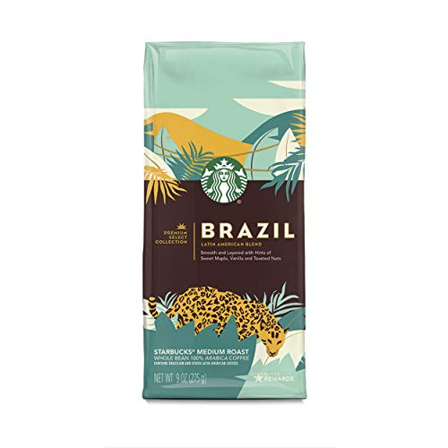 Starbucks Medium Roast Whole Bean Coffee — Brazil Latin American Blend Premium Select — 6 bags (9 oz. each)