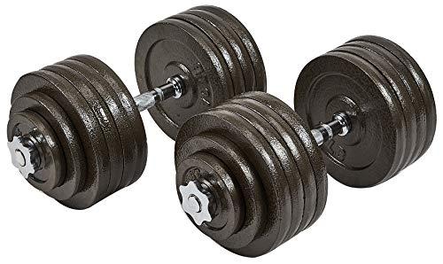 Sporzon! Contoured Handle Cast Iron Adjustable Dumbbell Weight Set