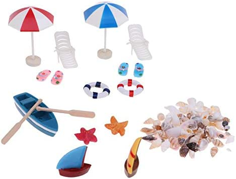 SoundsBeauty Doll House Accessories Miniature Beach Chair Umbrella Boat Shells Model Mini Ornament product image