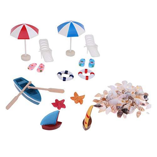 Whiie891203 Miniatur-Feengarten 1/12 Puppenhaus Mini-Boot Sonne Regenschirm Muschel Strand Landschaft Fotografie Requisiten