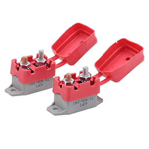 Gloaso 40 Amp Automatic Reset Circuit Breakers 12V 24V dc Replacement 40A Breaker w/Cover Stud Bolt for Automotive Marine