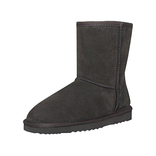 SKUTARI BRAND OF QUALITY GOODS SKUTARI Classic II High Boots, in Handarbeit gefertigte italienische Damen-Lederstiefel mit kuscheligem Kunstfell, Anti-Rutsch-Sohlen und gepolsterter Einlage (37 EU, Grau)