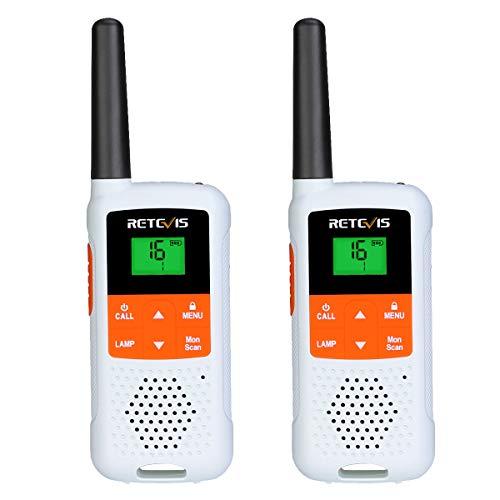 Retevis RT649B Walkie Talkie, 16 Kanäle, PMR446 Lizenzfrei, 10 Ruftöne, LED-Taschenlampe, VOX, 3AA-Akku, CTCSS/DCS, Walkie-Talkie für den Außenbereich (2 Stück, Weiß)