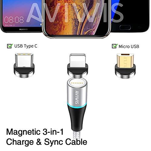 AVIWIS 3 in 1 Magnetisch Ladekabel [2m/6.6ft] Nylon Magnetic USB Ladekabel Datenkabel mit iP Micro USB Typ C Magnet Adapter für Phone 8 7 6, Samsung Galaxy S10 S9, Huawei, Xiaomi, Oneplus