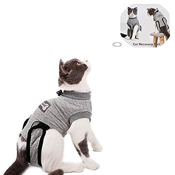 Yuhtech Gilet de Récupération de Chat, Cat Professionnel Restauration Convient pour abdominaux Collerette des plaies ou des Maladies de la Peau (M-Length-40-45cm)
