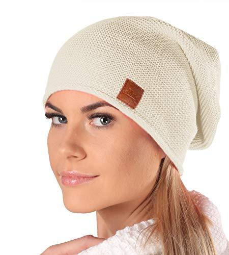 Mikos* Beanie für Damen | Frühling Mütze für Damen in Beige | Herbstmütze Damen | Long Slouch Beanie | Mütze mit hohem Tragecomfort |699 (Beige)