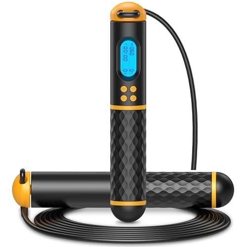 Springseil mit Zähler, Multifun Speed Rope, Fitness Seilspringen mit Kugellager, Einstellbare Speed Rope Hüpfseil mit Kalorienzähler für Zuhause Training für Anfänger & Fortgeschrittene