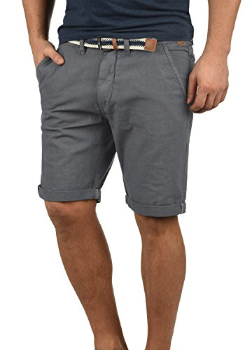Indicode Mews Herren Chino Shorts Bermuda Kurze Hose mit Gürtel Regular Fit, Größe:L, Farbe:Grey (905)