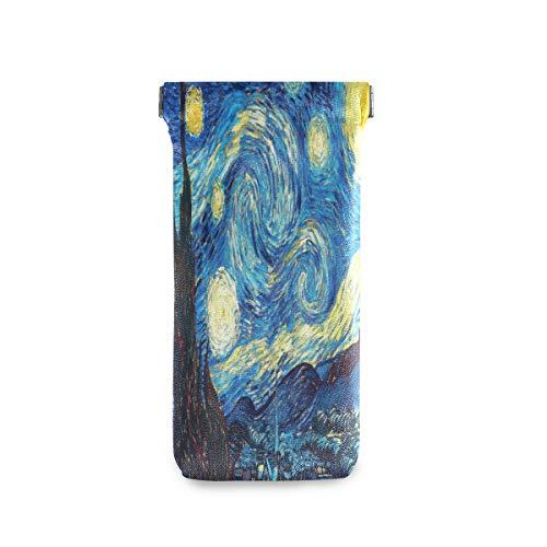 QMIN - Funda para gafas de sol de Van Gogh, diseño de cielo estrellado suave, de piel sintética, para gafas de sol, portátil, para mujeres y hombres