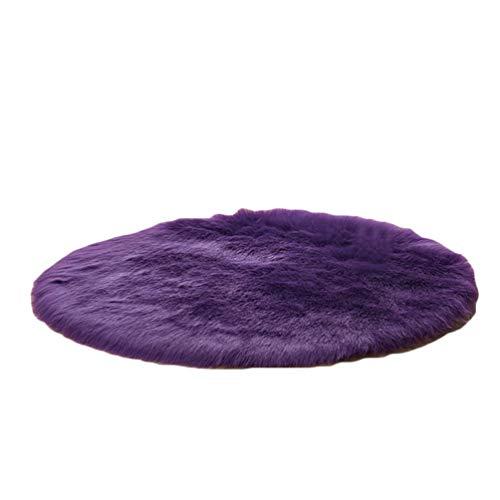GladiolusA Tapis Rond Faux Tapis Moquette De Canapé Coussin Fourrure Artificielle Décoration De Maison Violet 100cm