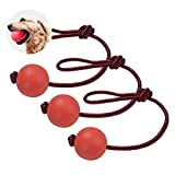 Kuiji Dog Rubber Solid Ball with Rope, Tug of War Balls Reward, Training Fetching Tugging Ball Toys for Small Dogs Teeth Cleaning Boredom Chew Toys (3 Same Sizes)