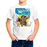Camiseta Niño Dibujos Animación, Vaiana y Moana (Blanco, 5 años)