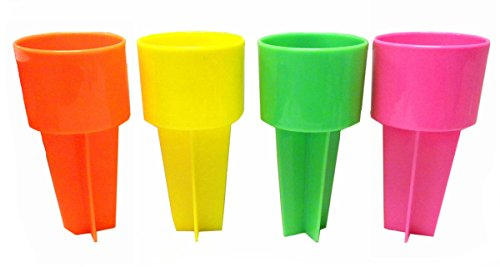 SPIKER Set of Four Beach Beverage Sand Cup Holders - New Neon Colors