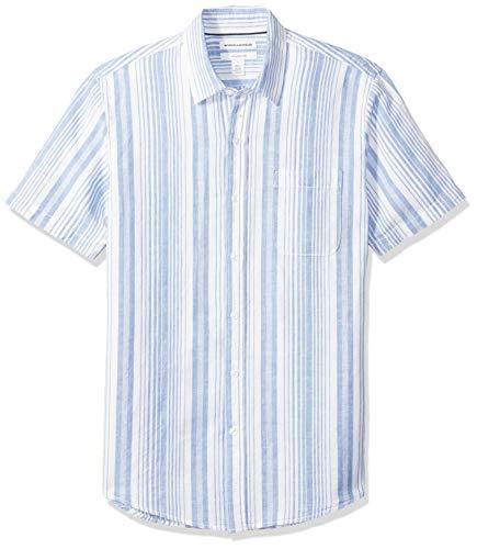 Amazon Essentials Men's Slim-Fit Short-Sleeve Stripe Linen Shirt, Blue, X-Large