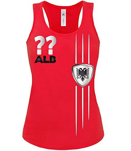 Albanien Albania Shqipëri Wunsch Zahl ohne Name Fan t Shirt Artikel 3318 Fuss Ball Tank Top für Mädchen EM 2020 WM 2022 Trikot Look Frauen Damen S