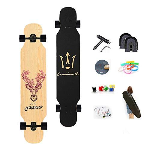 WRISCG Longboard 25x107cm Skateboard 8 Capas Flexible de Arce Tabla Completa, Rodamientos ABEC Alta velicidad, Drop-Through Freeride Skate Cruiser Boards, con Superficie Antideslizante,D