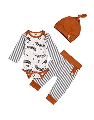 Zestaw ubranek dla niemowląt dla chłopców Ubranie Body Śpioszki Spodnie Czapka noworodków małych dzieci Miękkie, pióro, 12-18 Miesiące
