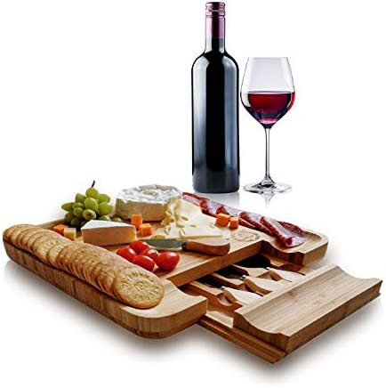 Cheese Cutting Board with Knife Set by Ohouse Natural Bamboo Food Serving Platters and Trays product image