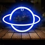 Neon Signs Planet LED Neon Light, USB / Akku NeonLights Planet NeonSchild Wand Deko, LED Bedroom Neon Signs NeonlichtWand Mood Beleuchtung Party Bar Dekoration Pub Kinder Mädchen Zimmer (Blau)