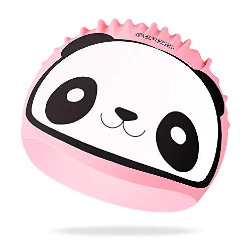 COPOZZ Kinder Badekappe, Wasserdicht Schwimmkappe für Mädchen Jungen, Lange Haare Silikon Swimming Cap Bademütze für 3 4 5 6 7 8 9 10 11 12 Jahres (Pink Panda, 3-12 Jahre 7.79 * 9.25 Zoll)