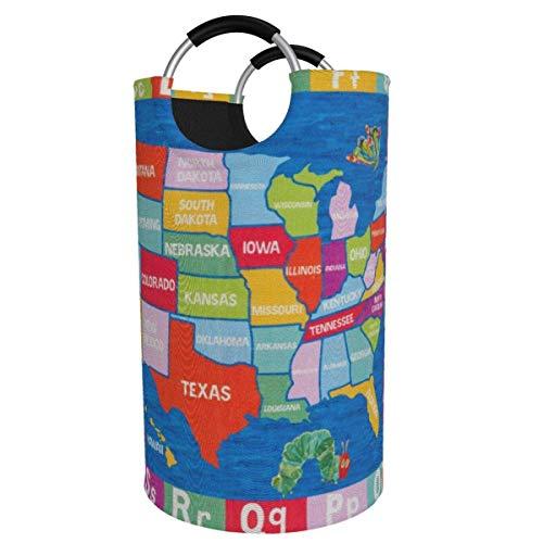 Cesta de lavandería redonda, mapa de EE. UU., Cesto de lavandería, cubo, bolsa de ropa plegable, contenedores de 82 litros para la organización del bañoManta para ropa sucia con clasificador de conten