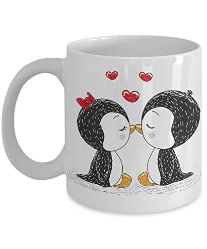 Taza de café Penguins In Love, blanca, 11 oz Unique Gifts