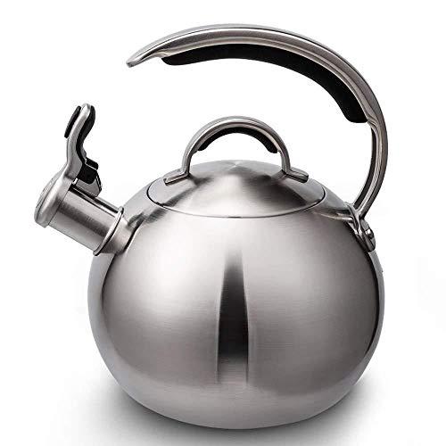 Théière XINYALAMP Whistling Bouilloire for gaz Plaques de Cuisson, Cuisinière-masselotte Eau en Acier Inoxydable Bouilloire avec poignée Ergonomique, Whistling Teakettle
