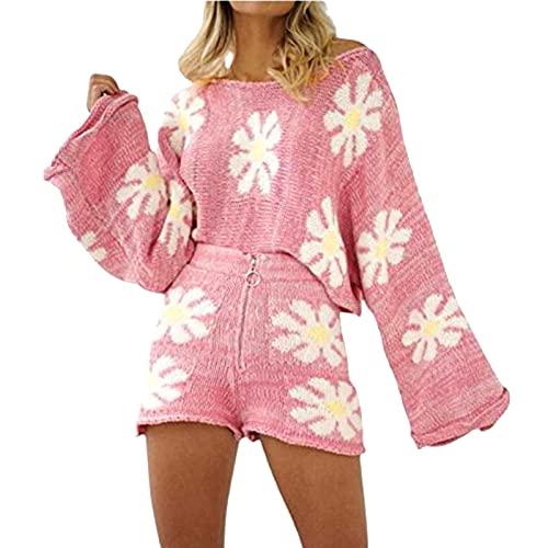 Briskorry Y2K Floral Crochet Crop Top Short Crochet Crop Top Short Crochet Crop Top Short Crochet Crop Cuello halter Top Bodycon Mini Falda Verano Streetwear