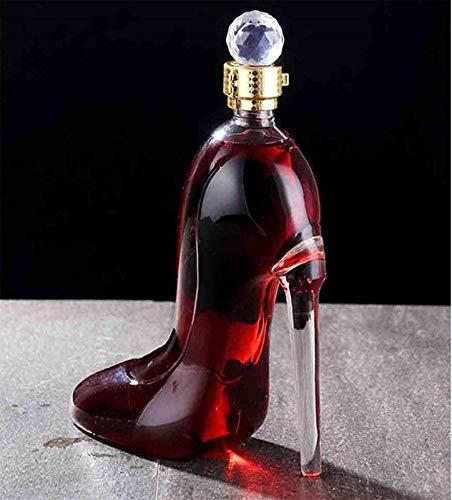Decantador de vino de cristal hecho a mano, Decantador de vino de vino de cráneo y gafas Conjunto exquisito ANTER con un tapón de diamantes herméticos, ennteluzco de whisky con tapón hermético, botell