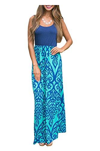 Issza Damen Sommerkleid Lang Kleid Maxikleid Drucken Ärmellos Strandkleid Rundhals High Waist Cocktailkleid Abendkleid Partykleid Blau XL