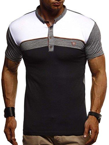 Leif Nelson Herren Sommer T-Shirt Polo Kragen Slim Fit Baumwolle-Anteil Basic schwarzes Männer Poloshirts Longsleeve-Sweatshirt Kurzarm Weißes Kurzarmshirts lang LN1420 Anthrazit Small